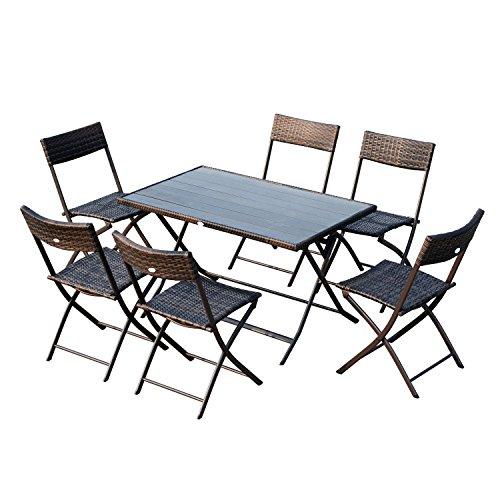 Outsunny Set Mobili 7pz Rattan Tavolo da Pranzo con 6 Sedie Pieghevoli Giardino