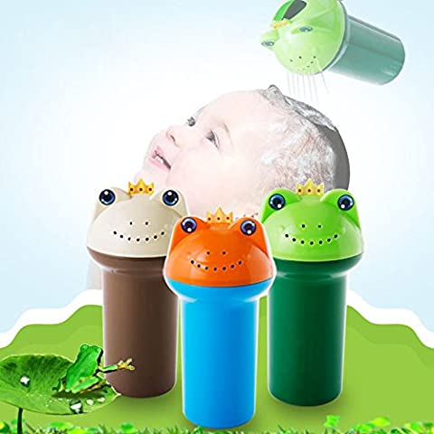 CALISTOUK Lovely Frog Head Babies Summer Shampoo Shield Shower Cup Bath Products Care Wash Hair Toys for Children,Green