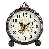 Orologio da tavolo HENSE, dimensioni 12,7 cm, classico, retrò, antico, in stile europeo, decorativo con lancetta dei secondi in movimento al quarzo, cornice metallica, sveglia, linea vintage, modello HA65 Parrots