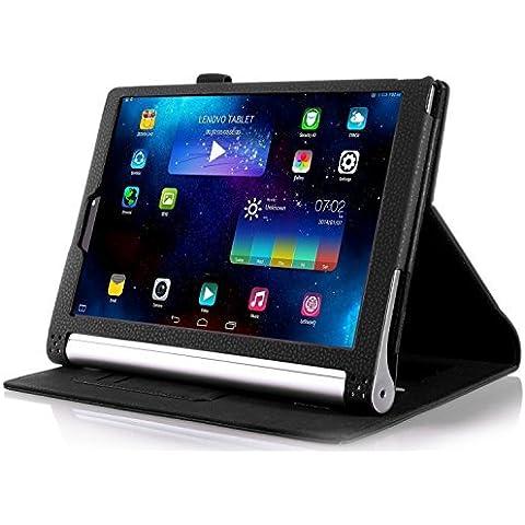 ELTD Lenovo Yoga Tab 3 Pro cover, Book-style Funda de piel de cuerpo entero para Lenovo Yoga Tab 3 Pro 10.1-inch con la función del sueño / despierta, Negro