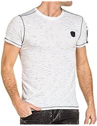 BLZ jeans - T-shirt homme blanc avec poche effet bomber