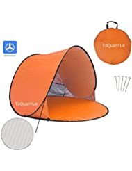 Grande al aire libre automático Pop Up Instant portátil Cabana familia tienda de campaña para la playa y sol refugio anti UV Cabana (2–3persona) UPF 50+, naranja