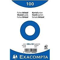EXACOMPTA 10502E Paquet 100 fiches sous film - bristol uni non perforé 100x150mm Blanc