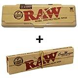 RAW KS - Caja de lata para papel de fumar, incluye 1 Raw Connoisseur con papeles y filtros