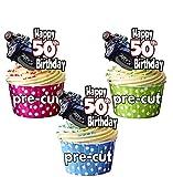 vorgeschnittenen Motorrad MotoGP Rider Motto–50. Geburtstag–Essbare Cupcake Topper/Kuchen Dekorationen (12Stück)