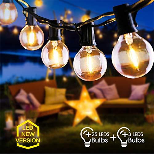 catena luminosa esterno, fochea 9.5m catena luci stringa g40 led con 25 lampadine e 3 lampadine di ricambio perfetto per giardino, portico, albero, matrimonio, festa, pergole, natale
