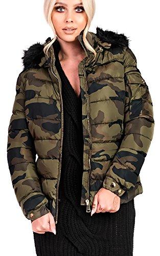 Ikrush Women's Josephine Padded Faux Fur Hooded Jacket in CAMO Size L
