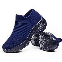 حذاء مشي نسائي سهل الارتداء كالجوارب - نسيج شبكي بتقنية الهواء المضغوط - حذاء رقص عصري للفتيات, (كحلي), 37 EU