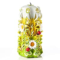 IK Style Large Hand Carved Unscented Candle - Perfect Home Decor Or Gift Candle for Many Occasions - Stunning Cream Color with Decors (Yellow)