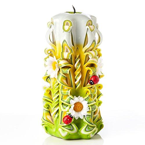 Vela grande sin aroma tallada a mano - Perfecta para decoración casera o como vela de regalo para varias ocasiones - Impresionante color verde crema con decoraciones