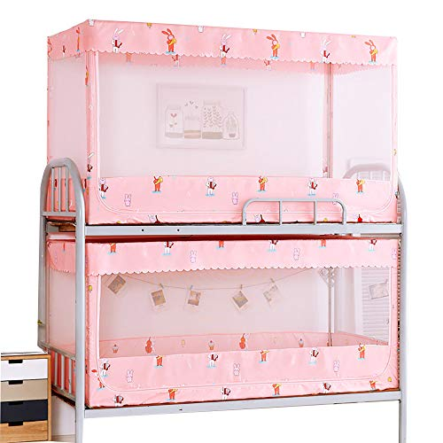 CHHBOX Moskitonetz Mobil/Moskitonetz Pop-Up Faltbarer DoppeltüR/Moskitonetz Rechteckig Doppelbett/MüCkenschutznetz Baldachin-Rosa Katze, Etagenbett,Pink-B-0.9x1.9x0.9m -