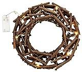 Weihnachtskranz Holzkranz beleuchtet mit 10 LED´s Ø 30cm Adventskranz Türkranz,Ostern