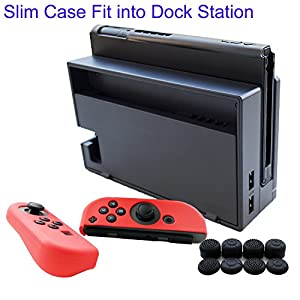 Hikfly 3in1 Ultra Slim Docked PC Cover Case for Nintendo Switch & Silicone Covers for Joy-Con Controllers with 8pcs Thumb Grips Super Thin Fit Into Dock