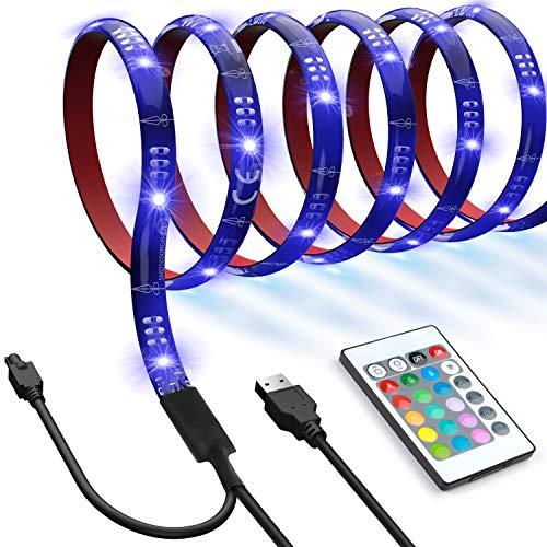 LED Luces de Tira Impermeables-48 LED Tira de Retroiluminación de TV, 16 Colores, 4 Modos - 6.56 pies USB TV Luces LED con Control Remoto- Reduce la Tensión de los Ojos y Mejora la Calidad de Imagen