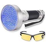 WOLFWILL Linterna ultravioleta 100 LED Blacklight Detector de manchas de orina para mascotas Scorpion Spotting con gafas de seguridad UV