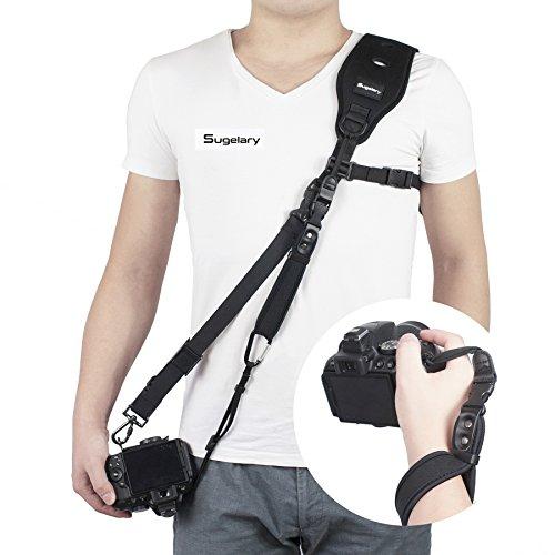 Kamera Gurt mit Handschlaufe, Sugelary Kamera Schultergurt für DSLR SLR Schwarz (Kamera Gurt) (Handschlaufe Kamera Nikon Für D5200)