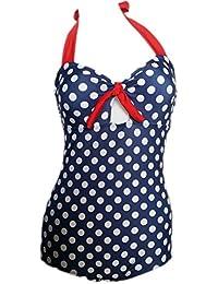 Missyhot Traje de baño Mujer Bañador Retro Años 50s 60s Monokini Bikini de Lunares Alta Cintura Una Pieza Rockabilily