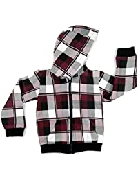 Kids Winter Wear - Fleece Hoodie Jacket - Maroon Chequered - Unisex