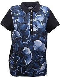 abe17d4b6a0f MONCLER B5576 Polo Donna Maglia seta blu Manica Corta Polo t-Shirt Woman