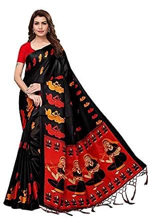 Lovender Fashion Khadi Silk Saree With Blouse Piece (LF-2159_Black &Red_Free Size)