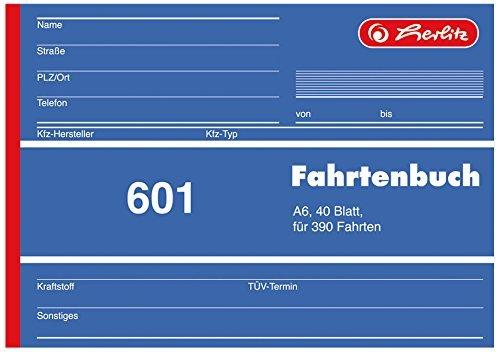 Herlitz 840645 Fahrtenbuch 601, A6 quer, 40 Blatt, für 390 Fahrten (10er Pack)