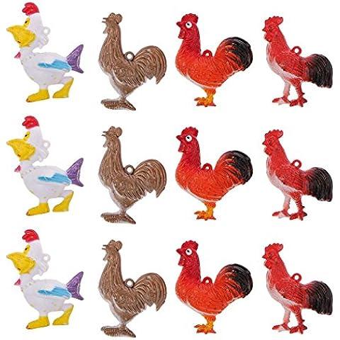 Figure Di Pollo Di Plastica Decorazione Simulazione Bambini Giocattoli 12pcs
