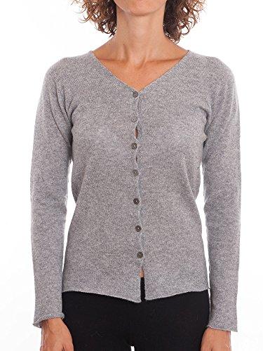 DALLE PIANE CASHMERE - Cardigan zu 100% aus Cashmere, für Damen, Farbe: Grau, Größe: S - 100% Cashmere Jacke