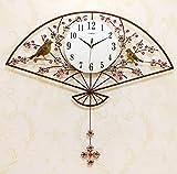 Xqcay Uhr- und Wohnzimmerdekorationsuhr, Quarzuhr, Kreative Pendeluhr, Antike Eisenkunst-Uhrmode, Antike Farbe