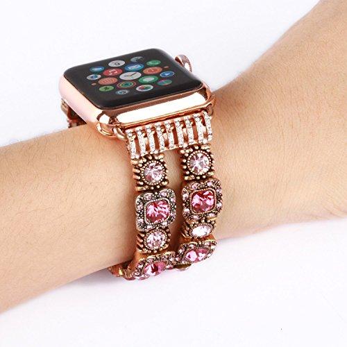 Preisvergleich Produktbild YCCY Band for Apple IwatchReplacement, Handmade Vintage Faux Crystal Stone Bracelet iWatch Strap Women (Pink - 38mm)