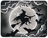 XIUZHIZH Halloween Witch On The Broom Mouse Mat Pad - Seasonal Scary Gift Computer #14408