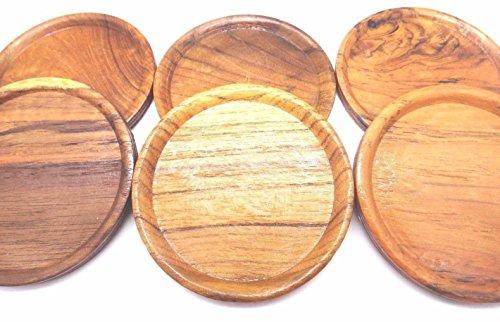 Vintage Teak Holz natur Untersetzer Set von 6mit Halter Kork Thailand -