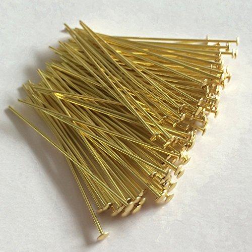 Prismenstifte 0,8 x 45mm goldfarben 100 Stück Großkopf 2,8mm - Kettelstifte - Nietstifte - Schmuckstifte - Bastelbedarf - Haken für Kristalle