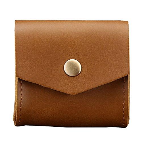 Yiiquan Style Vintage Faux Cuir Sacoche Étui de Protection Écouteurs Boîte Coin Bag avec Conception Bouton Magnétique