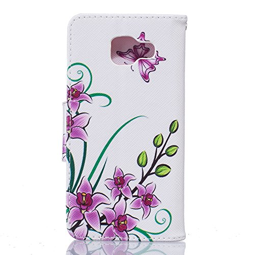 Cozy Hut® Samsung Galaxy A3 (2016) A310 Housse, Ultra-mince Etui En Cuir PU Flip Cassette Intérieur Pour Cartes Pour Samsung Galaxy A3 (2016) A310 New Mode Fine Folio Wallet/Portefeuille + Stand Suppo Papillon Fleur rose