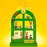 SIKORA OD02 Osterdeko Fenster- und Wandbild / Türschild aus Holz zum Aufhängen mit LED Beleuchtung, Farbe / Modell:A1 grün - Rundbogenfenster