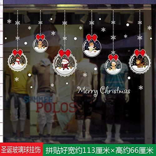 HAPPYLR Weihnachtsdekoration Einkaufszentrum Schaufenster Fenster Blume Selbstklebende Glastür Aufkleber Schneemann Santa Schneeflocke Aufkleber, Weihnachten Glas Ball Ornamente, groß -