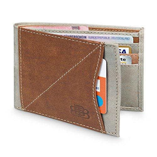 Geldbörse Herren Leder - Minimalistisches Portemonnaie mit RFID & NFC Schutzfunktion für mindestens 7 Karten - Geldbeutel mit Schnellzugriffsfach (Klassische Hipster Brieftasche)