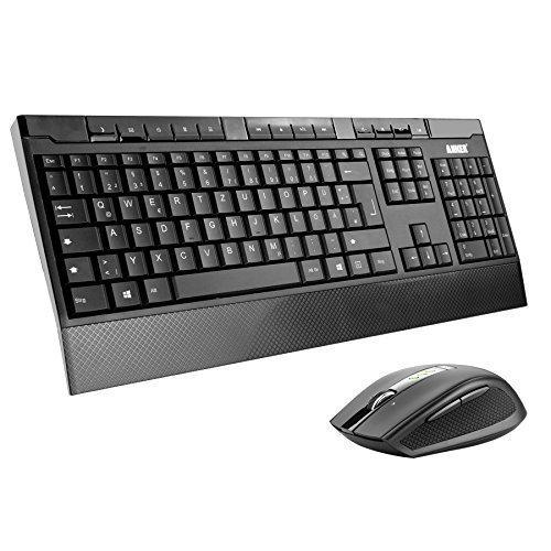 Preisvergleich Produktbild Anker CB310 Full-Size Ergonomische Kabellose Deutsche Tastatur und Maus - wasserdichtes und flüsterleises Tastaturdesign