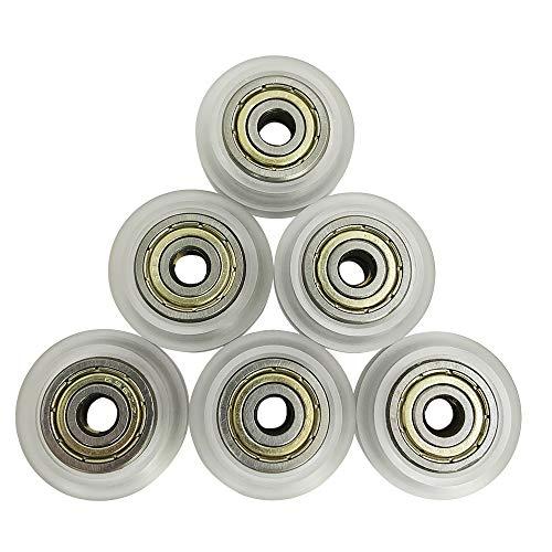 YuCool 3D-Drucker-Ersatzteil, 6 Stück, 3D-Drucker, CNC-klar, Polykarbonat, V-Schlitz-Rad, Kunststoff, lineares Lager für Creality CR-7, CR-8, CR-10, CR10S, Ender/Ender 3 Pro