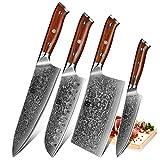 XINZUO 4er Damascus Steel Küchenmesser Set,Hohe Qualität 67 Schichten Japan...