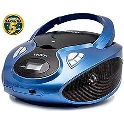 Lauson Lecteur CD | Radio Portable | USB | Radio Stéréo CD Lecteur MP3 pour Enfants | Chaîne stéréo | Prise Casque | Aux in - Écran LCD - Batterie et Alimentation électrique | CP636 (Blue)