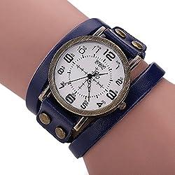 SSITG Retro Punk Rock Large Dial Wide Leather Cuff Bracelet Men's Watch Wrist Watch