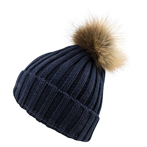 Damen Strickmütze grobstrick Mütze Bommelmütze mit echtem XL Fellbommel Nr 610, Mützen:One size, Farbe:Dunkelblau (Pelz-pom-pom Echte)