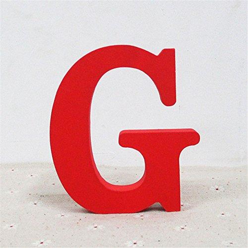 Holzbuchstabe Buchstabe, Toifucos A-Z DIY Englisch Alphabet Holz Buchstaben Handwerk Ornamente für Zuhause Hochzeit Geburtstagsfeier Dekoration Zubehör, Rot 1 pcs G