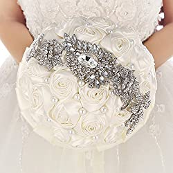 Hecho a mano broche ramo de novia satén rosa flores perlas Rhinestone decoración (Marfil con cinta)
