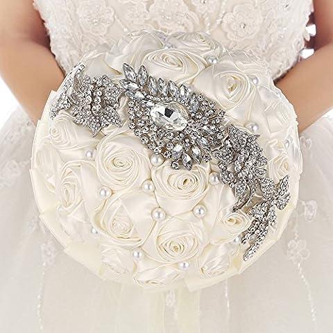 Realizzata a mano sposa spilla collezione? Satin Rose fiori Strass Perle Matrimonio Decorazione mit ribbom elfenbein