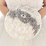 Bouquet Da Sposa con Fiori in raso, Strass e spilla con Perle mit ribbom elfenbein