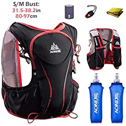 TRIWONDER Hydration Pack Backpack 5L Ligero Deluxe Marathoner Running Race Chaleco de Hidratación (Negro (S-M) - con 2 Botellas de Agua Blanda)