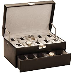 Superb Brand New Watch Collectors Box for 15 Watches in Bonded Leather with Auto Opening Drawer by Mele & Co SPECIAL OFFER £59.95 RRP