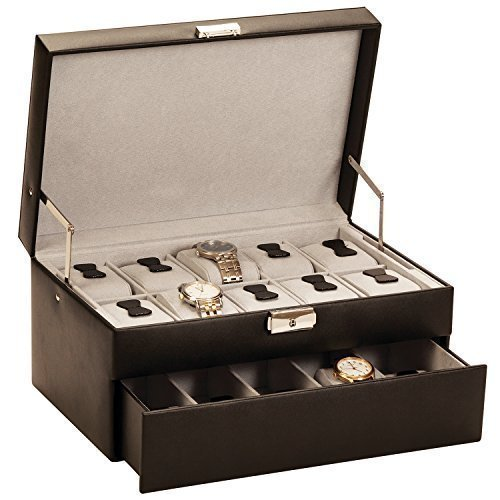 superb-brand-new-watch-collectors-box-for-15-watches-in-bonded-leather-with-auto-opening-drawer-by-m